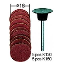 Sanding Pad with 10 Sanding Discs D18 mm (10 pcs)