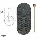 Al-Oxid Cutting Discs D22 mm with Shaft (10 pcs)