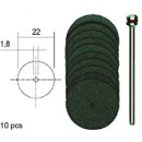 Corundum Cutting Discs D22 mm with Shaft (10 pcs)